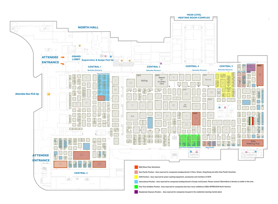 Cleaning equipment trade association exhibitors and sponsors for Gt issa floor plans